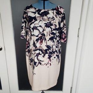 Blush Floral sheath dress with cutout back